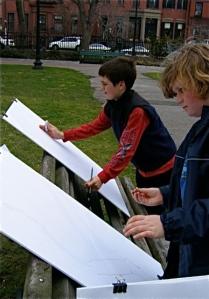 Sixth Graders sketching