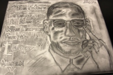 Portrait of Malcolm X by a Sixth Grader