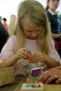 Elementary school girl at work