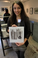 Emma Lesser and her lithograph